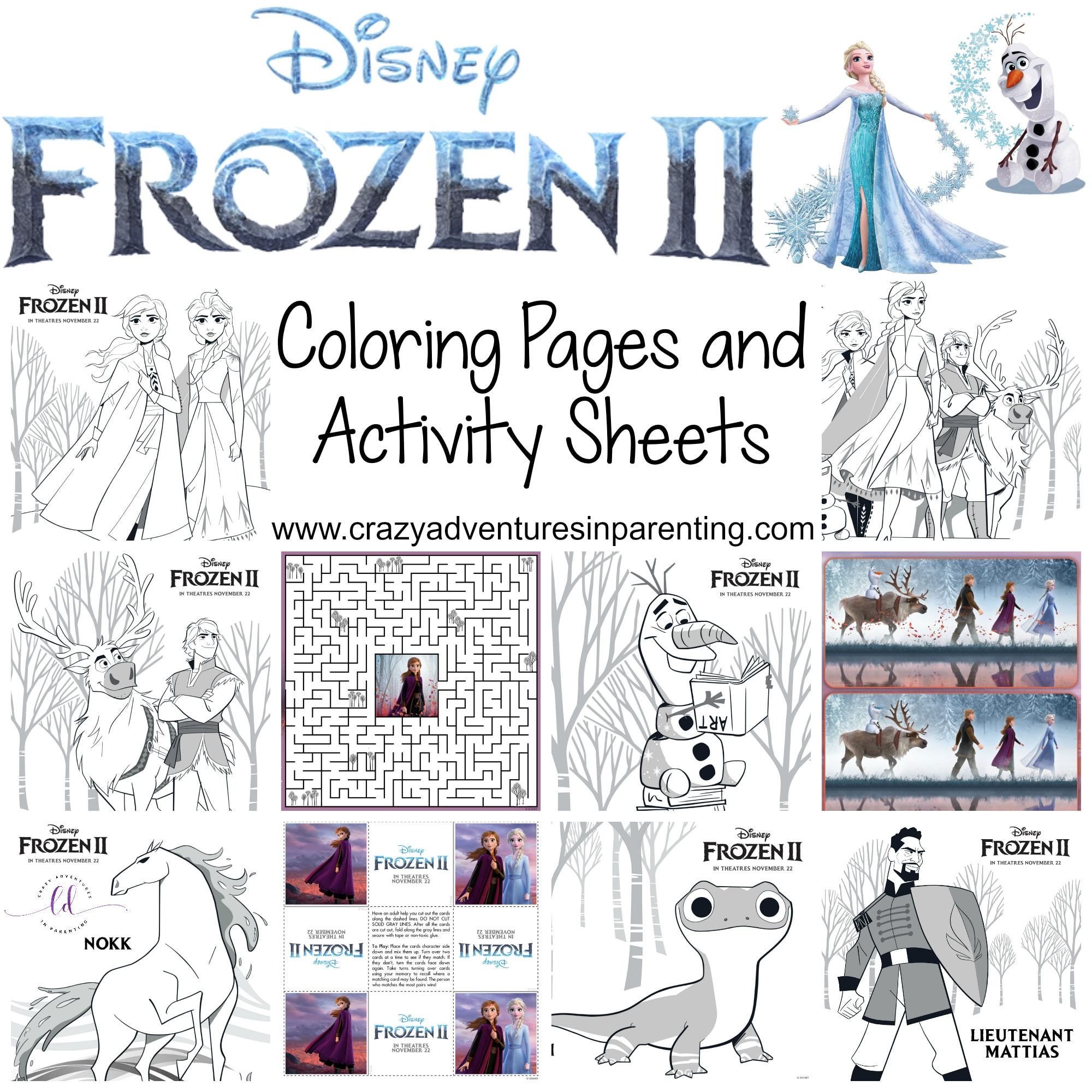 Free Printable Frozen 2 Coloring Pages And Activity Sheets Crazy Adventures In Parenting