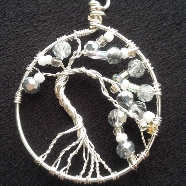silver and white tree of life pendant