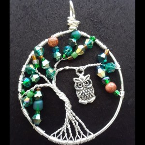 tree of life pendant necklace with owl