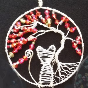 red tree of life pendant necklace with cat
