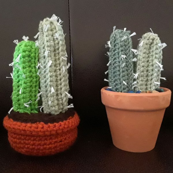 front view of crochet cactus columns