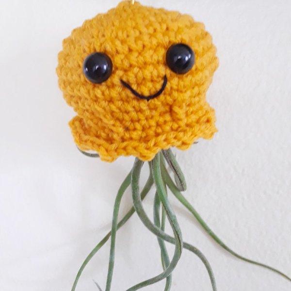 orange crochet jellyfish air plants