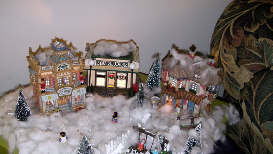 A shot of the Christmas village my son built - Complete with Lego men and a Starbucks.