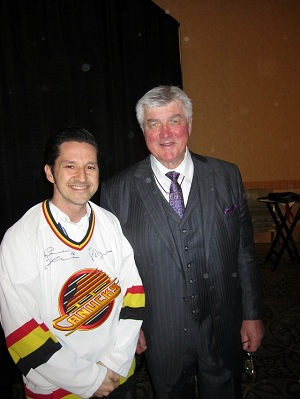 A picture of Pat Quinn, former coach of the Vancouver Canucks, and I.