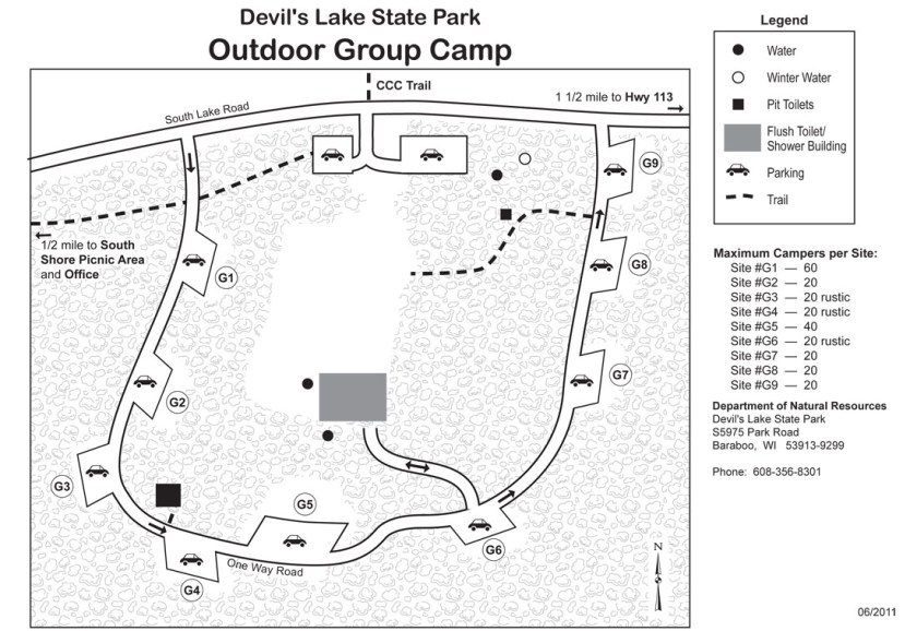Group Camping Map for Devil's Lake State Park