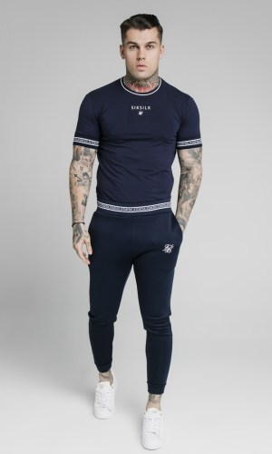 SikSilk Element Muscle Fit Cuff Joggers- Navy & White