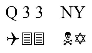 """The """"Q33 NY"""" symbols typed out in Wingdings"""