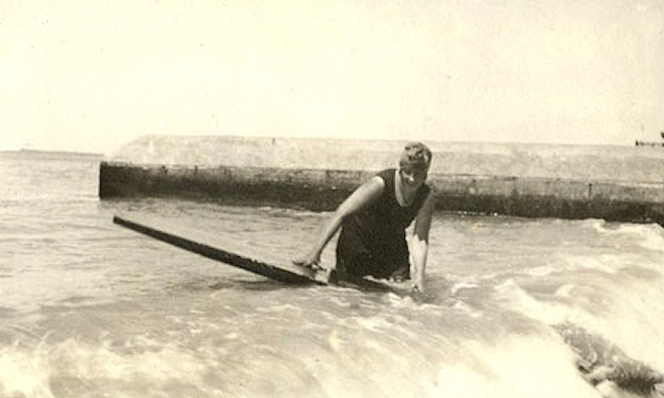 Agatha Christie surfing in Waikiki, Hawaii in 1922