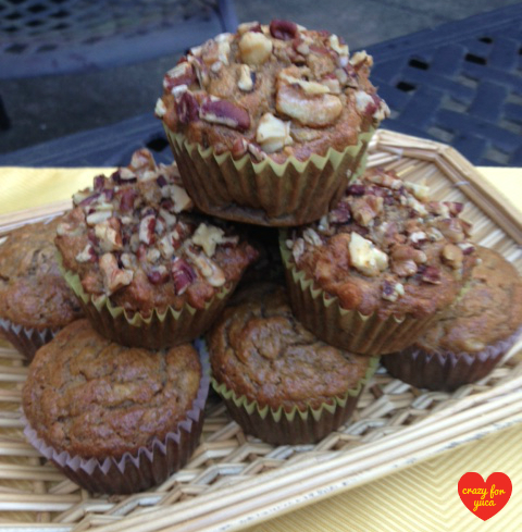 Gluten free grain free banana bread muffins crazy for yuca gluten free grain free banana muffins some with and some without nuts stacked forumfinder Image collections