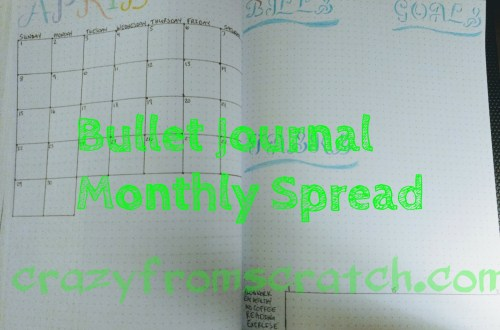 Bullet Journal, monthly spread