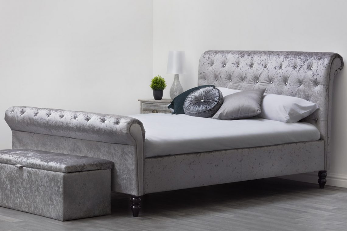 St James Silver Crushed Velvet Sleigh Bed Crazy House