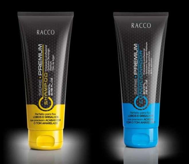 Shampoo e Condicionador da Racco, com tecnologia Platinum, eliminam os tons amarelados, proporcionando brilho e luminosidade.