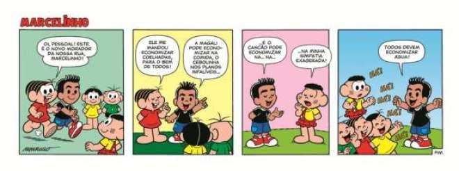 A primeira tira de apresentação do personagem à turminha, pela Mônica, já fala de um problema que o Brasil está vivendo: a falta de água.