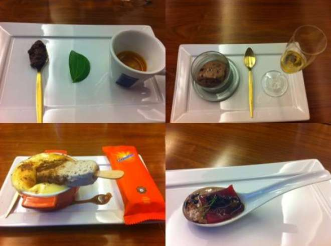 """Delícias da degustação """"às avessas"""": em sentido horário, começando de cima, à esq., o café, a mousse, o atum e o grand gâteau."""