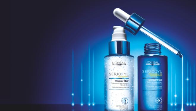 SERIOXYL proporciona mais densidade e mais corpo aos cabelos e desperta os folículos adormecidos