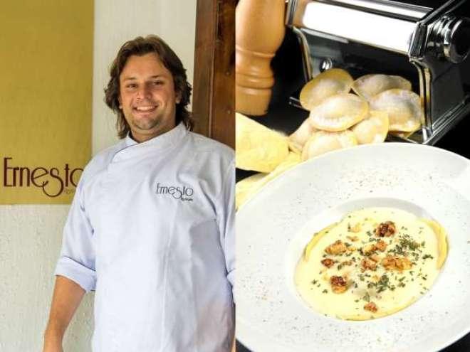 """Especialidade do chef Dudu Sperandio: na categoria """"Massa"""", o júri selecionou um dos clássicos do restaurante, o Ravioli de abóbora feito em casa ao molho de queijo de cabra com nozes caramelizadas e ervas frescas."""