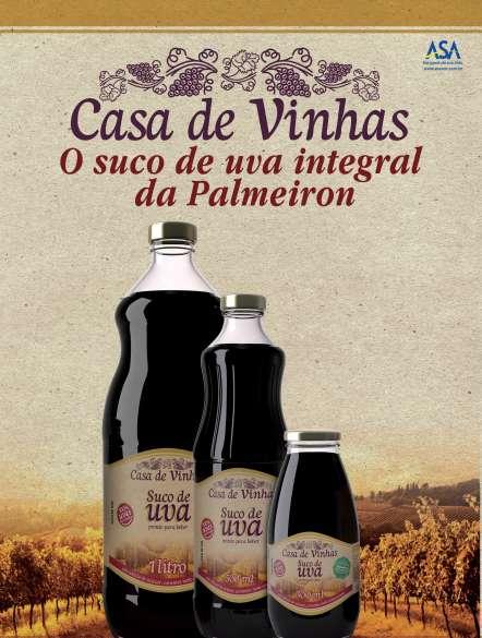 De acordo com estudos, os sucos de uva integral da Palmeiron, Casa Vinhas, apresentam maior concentração de substâncias saudáveis que os sucos de outras regiões do planeta.