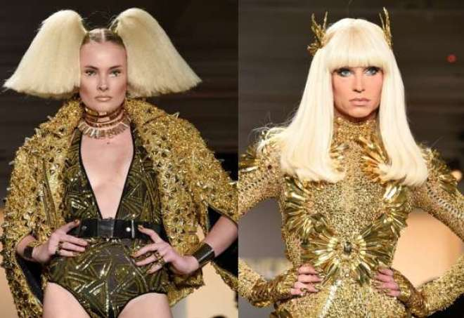 As golden girls da The Blonds surgem nessa temporada exibindo bodies dourados e reluzentes.