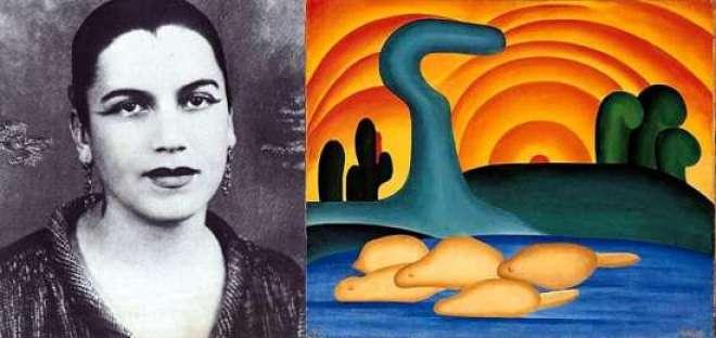 Criadora e criatura: Tarsila do Amaral, ao lado da obra que inspirou