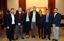Arthur Ramos e Alberto G. Martins, da B4Tcomm, ladeiam Francisco Fernandez, da ITMS, Samira Volpi, Jerome Cadier, da LATAM, Priscila Gélio e Sr. Ruy Ciarlini, da Embaixada do Brasil em Santiago.
