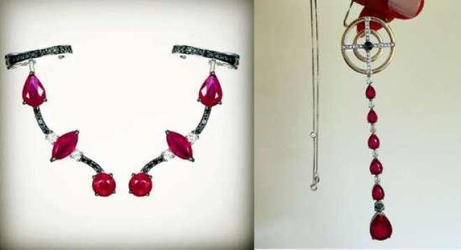 As joias, cravejadas com rubis e diamantes, são da marca Andreia Conti e custam, ao todo, R$ 85 mil.