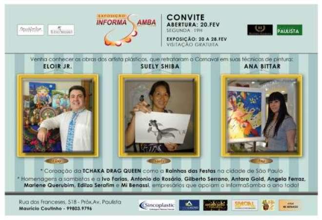 Exposição estará aberta até 28/02, entrelaçando as técnicas de pintura dos artistas plásticos Eloir Jr., Suely Shiba e Ana Bittar.