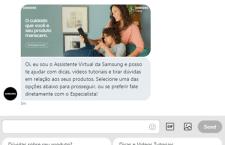 Atendimento automatizado daSamsungtira dúvidas e  presta atendimento ao consumidor