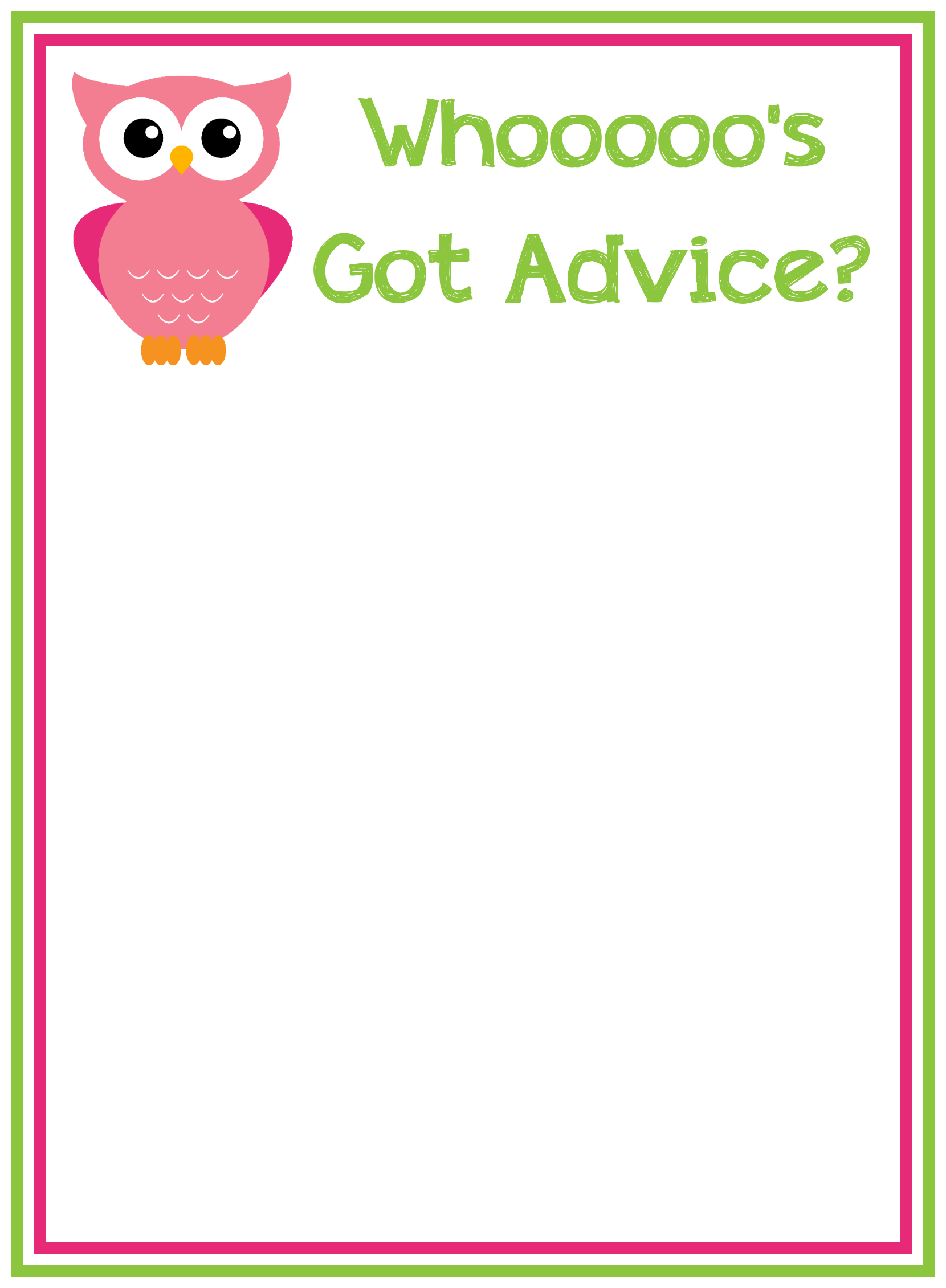 Baby Shower Advice Cards