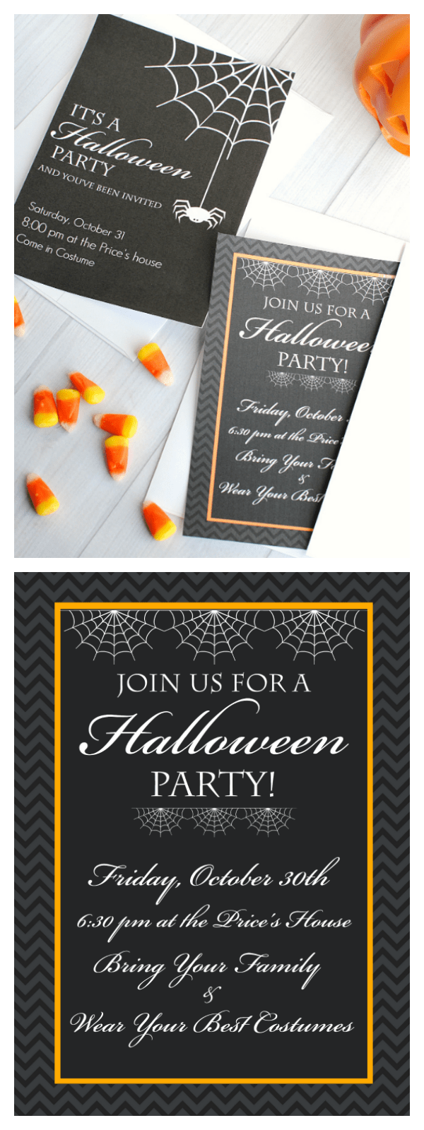 Free Printable Halloween Invitations for your next Halloween party! 4 cute versions to choose from! #Halloween #Halloweenparty #invitations