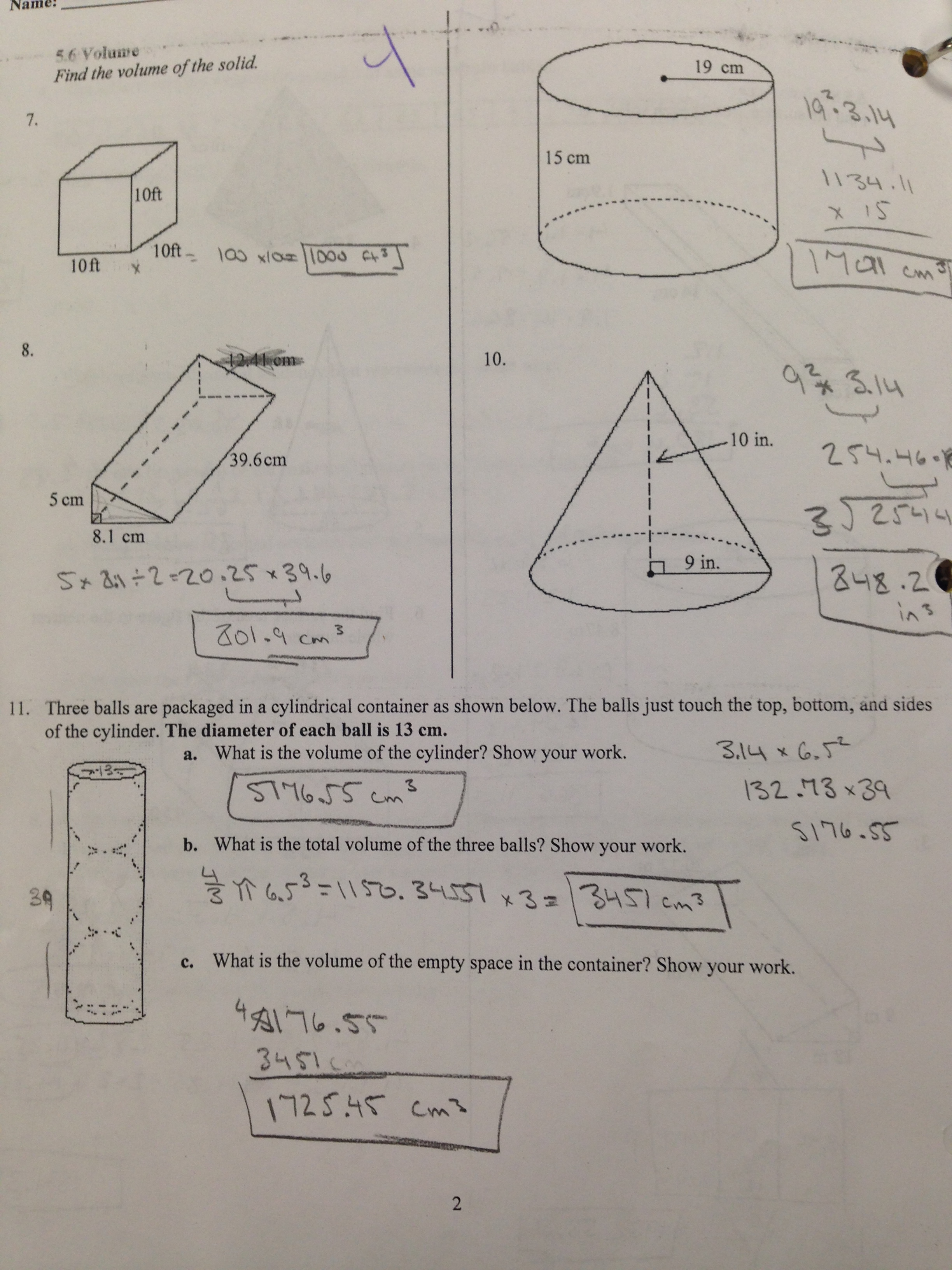 Day 125 Surface Area Amp Volume Quiz