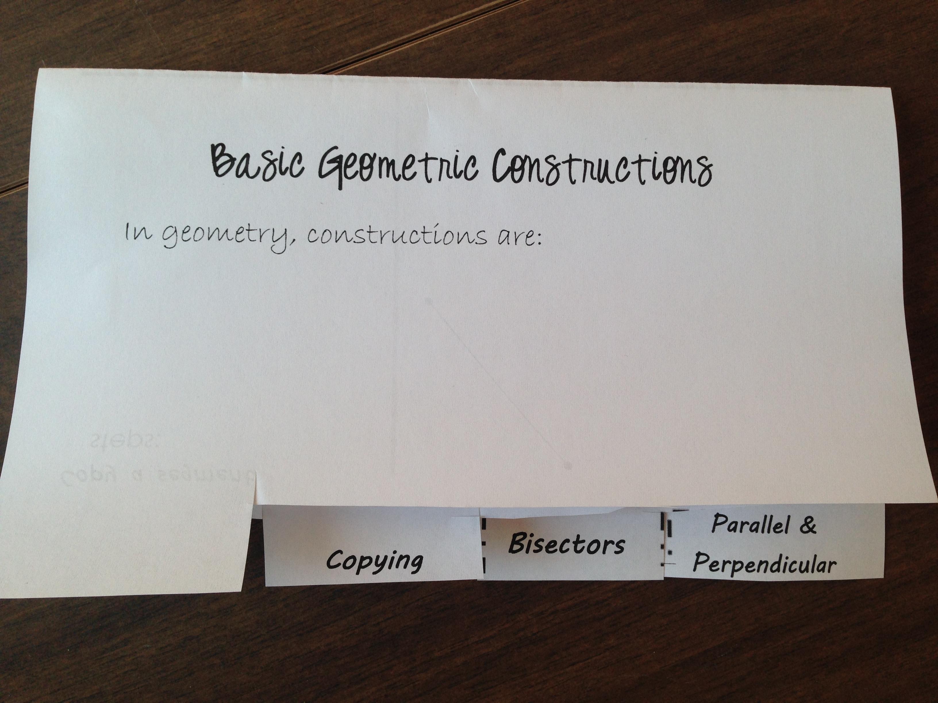 Basic Geometry Constructions 4 Tab Foldable