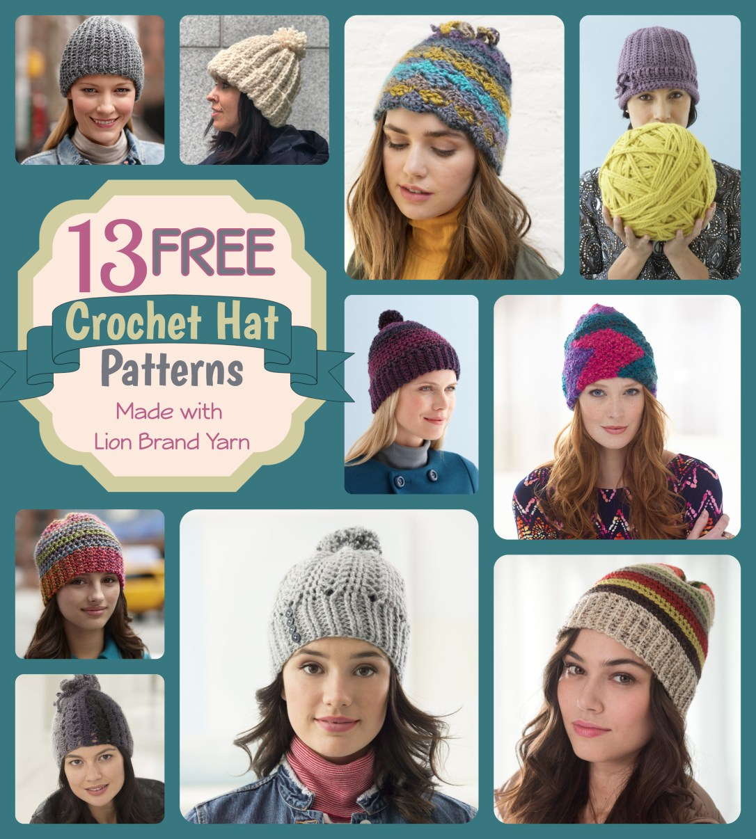 Best Free Crochet Hat Patterns From Lion Brand Yarns Crazy Q Crafts