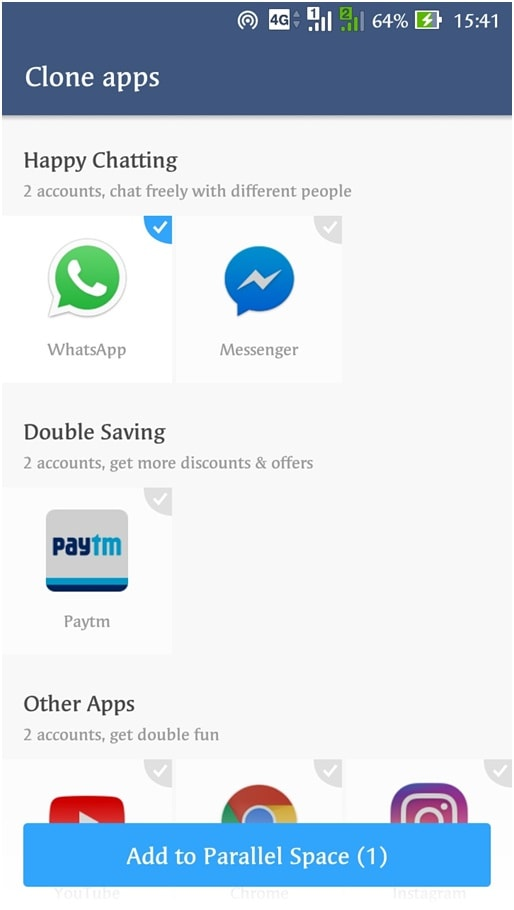 Launch the application automatically take you to its Clone Apps screen - How to Use 2 WhatsApp in Dual SIM Phone - Updated 2018