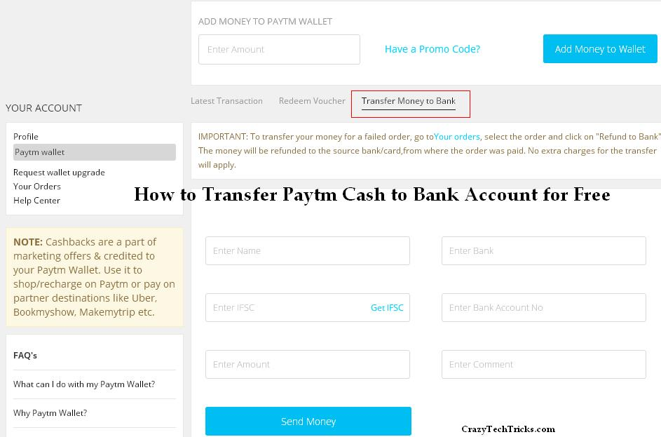 Transfer Paytm Cash to Bank Account