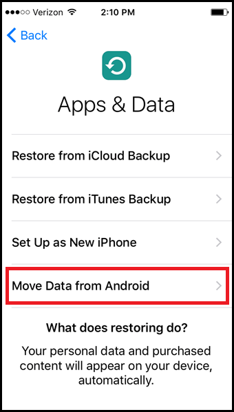 move to android, move to ios