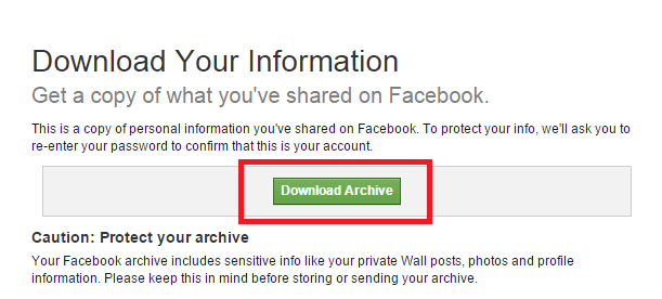 download archive of your facebook data to Recover Deleted Facebook Messages