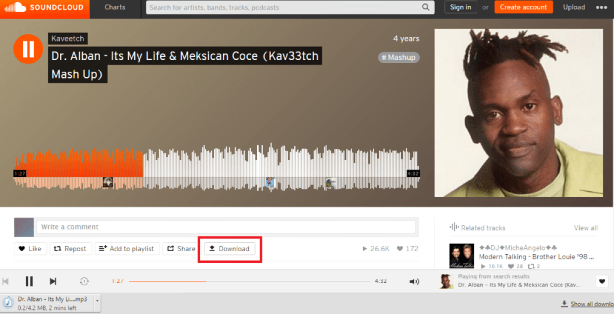 click on Download to download songs from SoundCloud - How to Download SoundCloud Songs