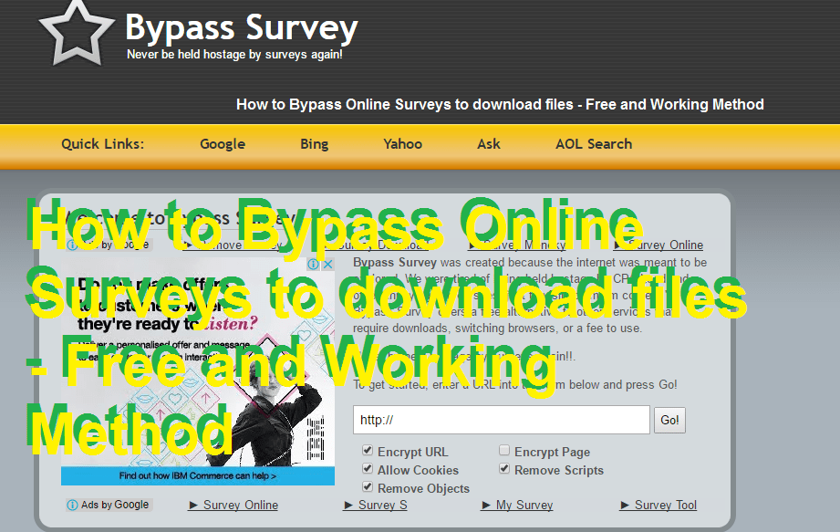 How to Bypass Online Surveys to download files - Free and Working Method
