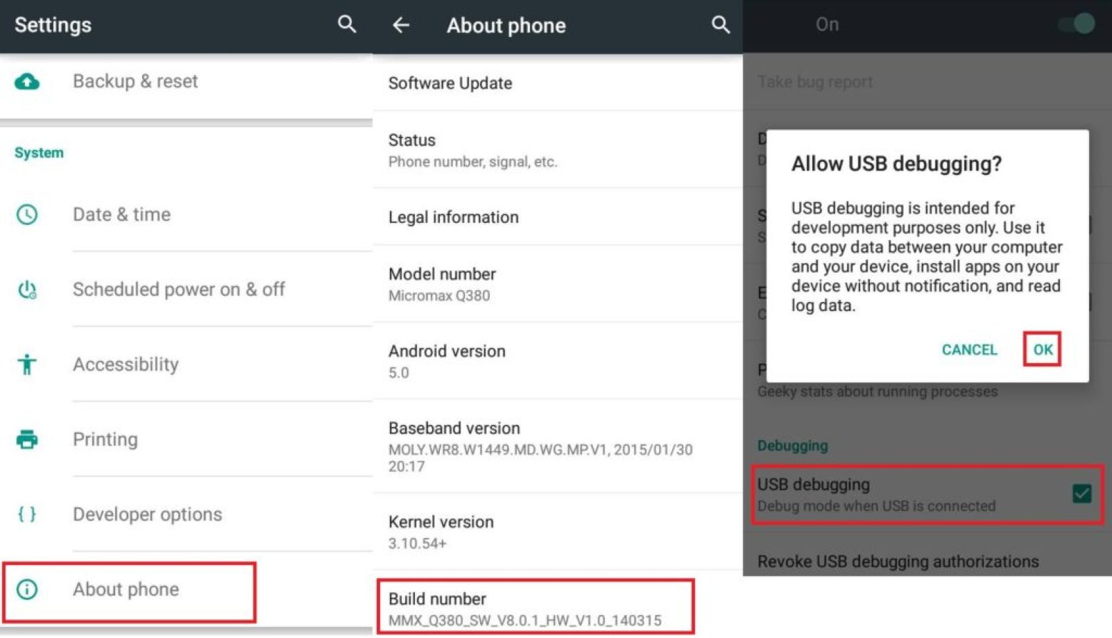 How to Enable USB debugging Android