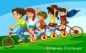 Friends-forever-and-together-on-cycle