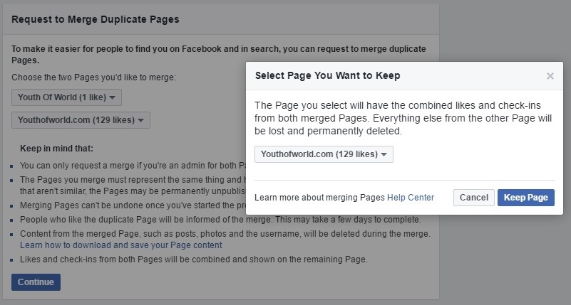 select the page you want to keep and click on keep the page