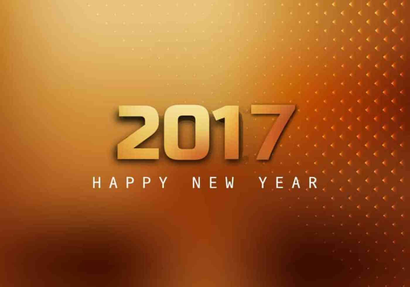 Happy New Year 2017 greetings with brown background