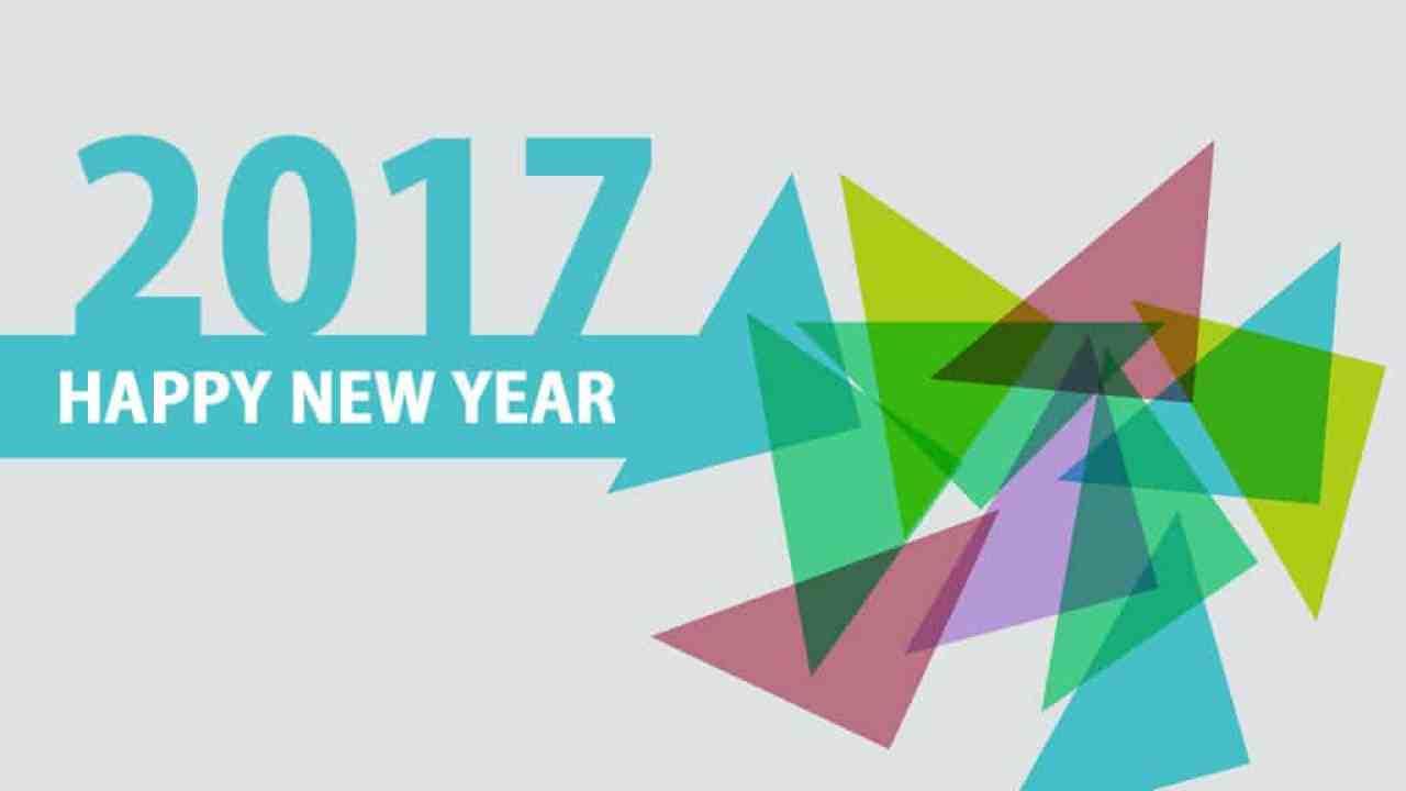 Happy New Year 2017 grey & blue greeting