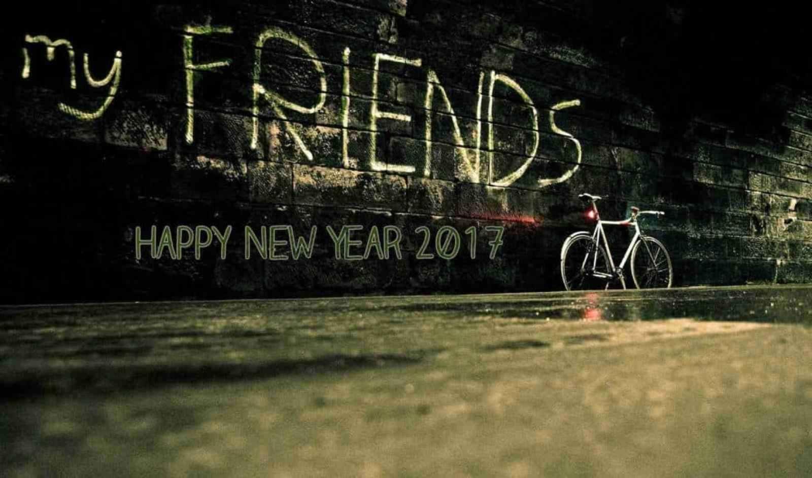 Happy New Year 2017 my friends written on wall