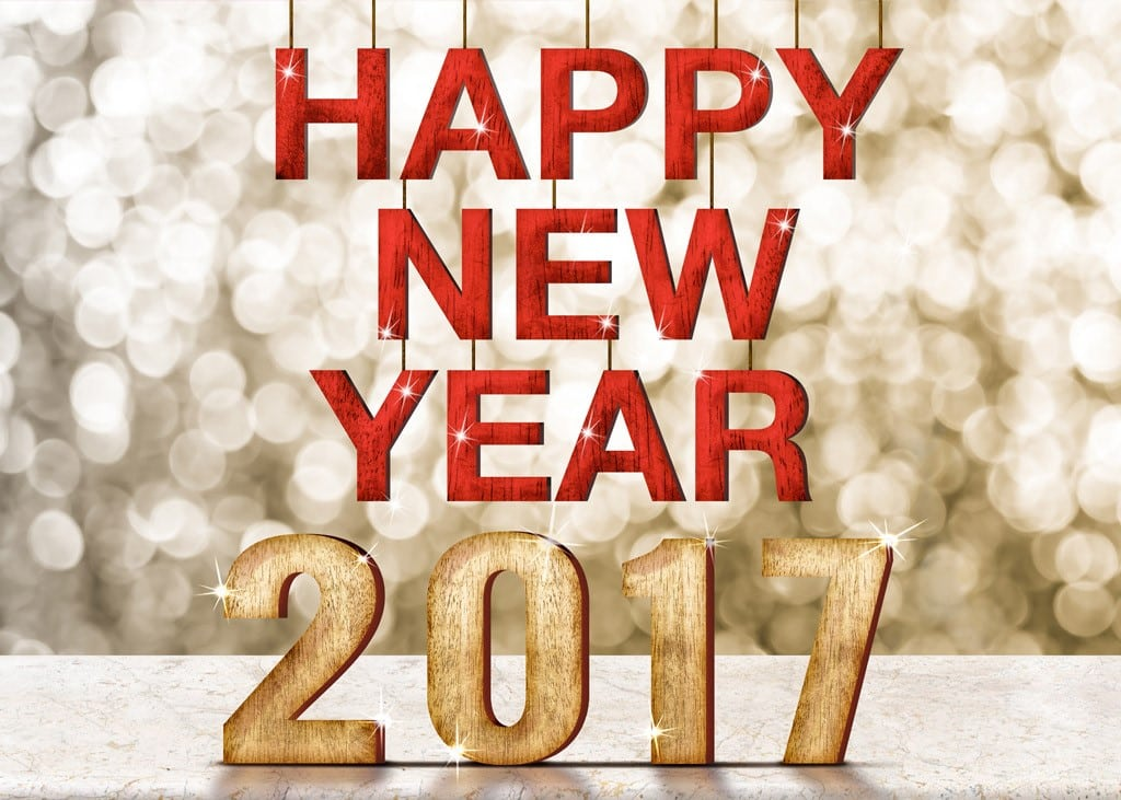 Happy New Year 2017 shining bright background