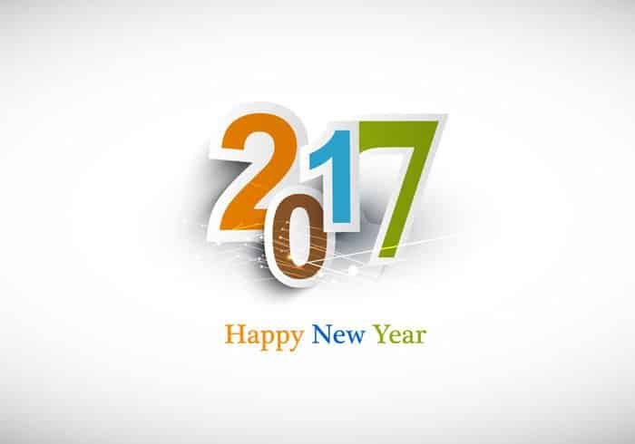 Happy New Year 2017 wishes with white background