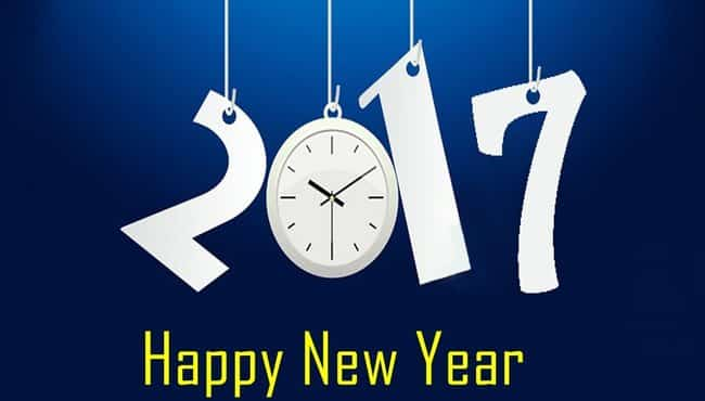 Happy New Year 2017 with a hanging clock