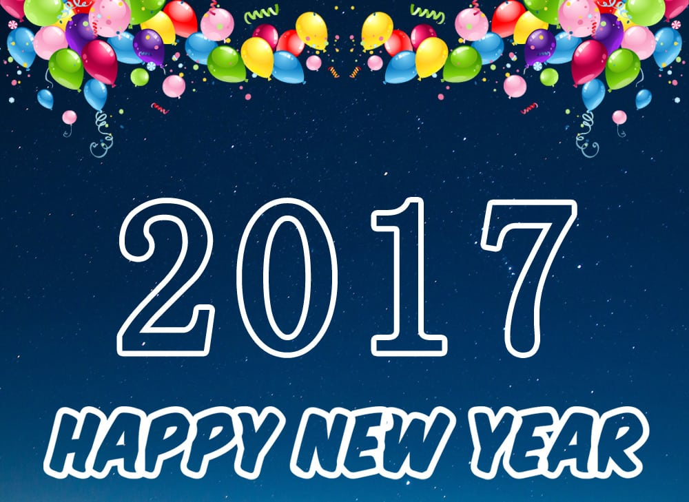 Happy New Year 2017 with ballons and night sky