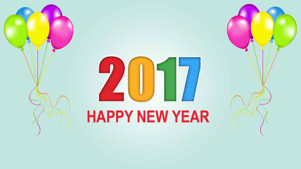 Happy New Year 2017 with bunch of balloons