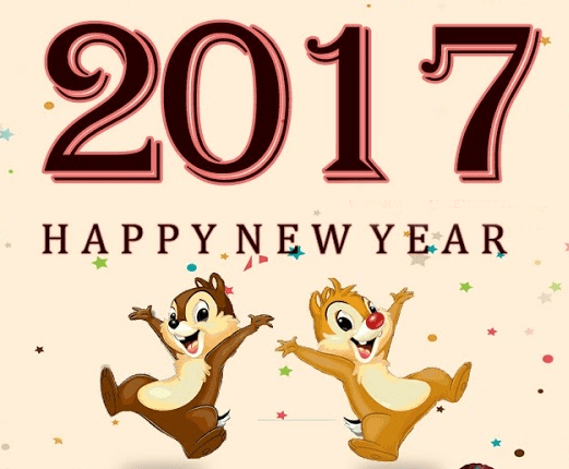 Happy New Year 2017 with chipmunks